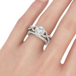 Jeulia Halo Twist Round Cut Sterling Silver Ring Set