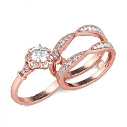 Rose Gold Tone Floral Round Cut Sterling Silver Ring Set