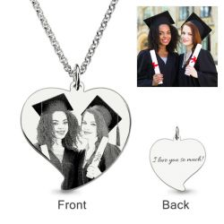 Laser Engraved Heart Personalized Photo Necklace Sterling Silver