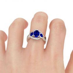 Twist Oval Cut Sterling Silver Ring