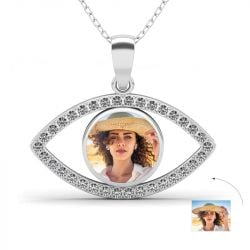 Eye of the Devil Personalized Photo Necklace Sterling Silver