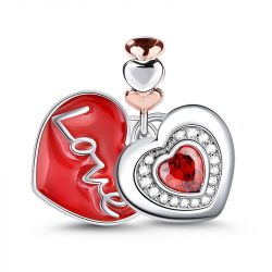 Love Two Red Hearts Sterling Silver Dangle Charm