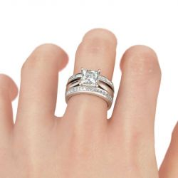 Princess Cut Enhancer Sterling Silver Ring Set
