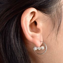 Cultured Pearl Sterling Silver Hoop Earrings