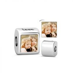 Love You Photo Charm Sterling Silver