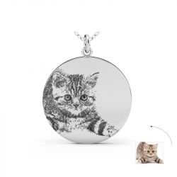 Pet Laser Engraved Personalized Necklace Photo Sterling Silver