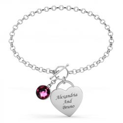 Single Birthstone Engraved Sterling Silver Bracelet