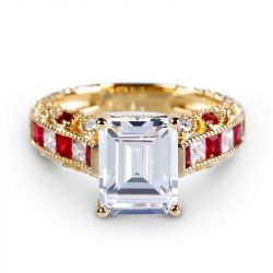 Gold Tone Emerald Cut Sterling Silver Ring