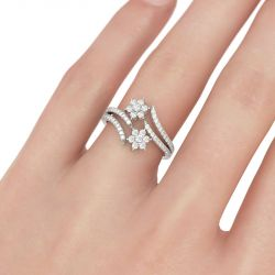 Bypass Floral Round Cut Sterling Silver Ring