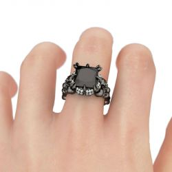 Black Tone Princess Cut Sterling Silver Skull Ring