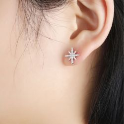 Star Shape Sterling Silver Stud Earrings