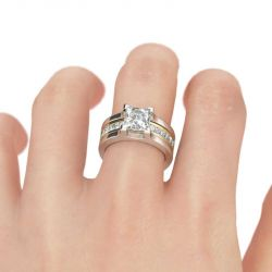 Two Tone Princess Cut Sterling Silver Ring Set