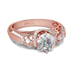 Rose Gold Tone Halo Round Cut Sterling Silver Ring