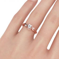 Three Stone Heart Cut Sterling Silver Ring