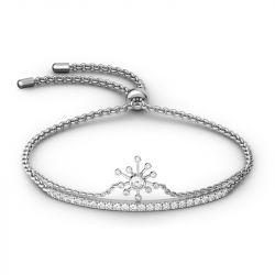 Jeulia Dandelion Sterling Silver Bolo Bracelet