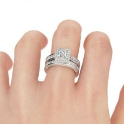 Double Halo Princess Cut Sterling Silver Ring Set