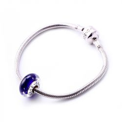 Dark Blue Glitter Glass Charm