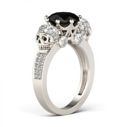 Crown Round Cut Sterling Silver Skull Ring