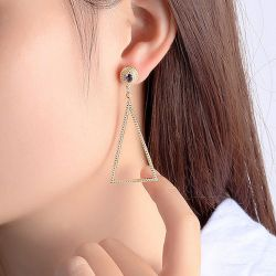 Gold Tone Triangle Earrings Drops