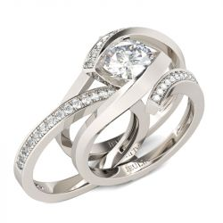 Bypass Cushion Cut Sterling Silver Ring Set