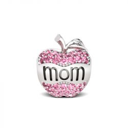 Apple Shape Mom Charm Sterling Silver