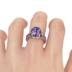 Lilac Flower Round Cut Sterling Silver Ring