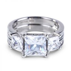 Three Stone Princess Cut Created White Spphire Ring Set