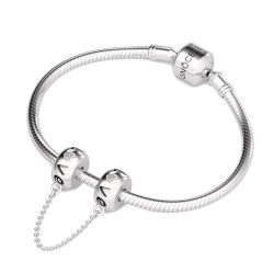 Engraved Love Safety Chain Sterling Silver