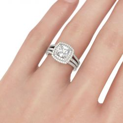 Double Halo Cushion Cut Sterling Silver Ring Set