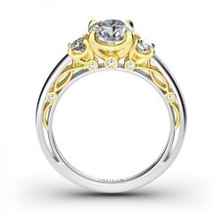 Classic Three Stone Round Cut Sterling Silver Ring