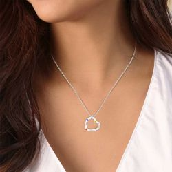 Heart Family Necklace with Birthstones Sterling Silver