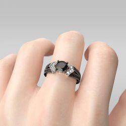 Jeulia  Split shank Round Cut Sterling Silver Ring