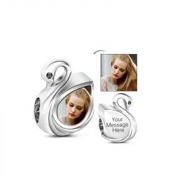 Graceful Swan Engravable Charm Sterling Silver