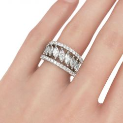 3PC Marquise Cut Sterling Silver Women's Band Set