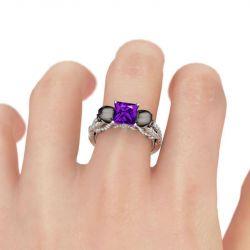 Jeulia Fancy Twist Princess Cut Sterling Silver Skull Ring