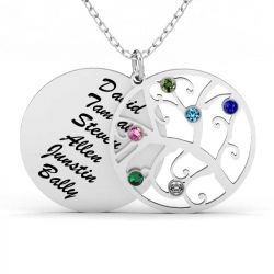 Filigree Tree Family Necklace with Birthstones Sterling Silver
