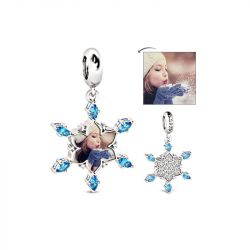 Snowflake Photo Charm Sterling Silver
