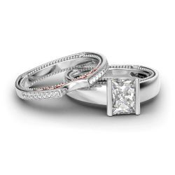 Beaded Radiant Cut Sterling Silver Ring Set
