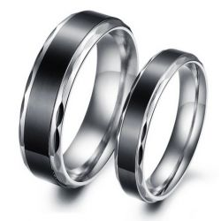 Cool Black Titanium Steel Couple Rings