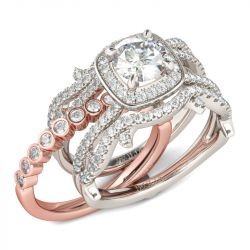 Interchangeable Two Tone Halo Round Cut Sterling Silver Ring Set
