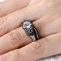 Twist Two Tone Round Cut Sterling Silver Skull Ring