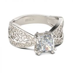Filigree Princess Cut Sterling Silver Ring