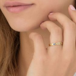 Gold Tone Stackable Sterling Silver Ring