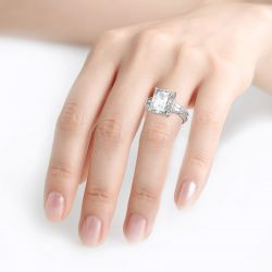Radiant Cut Eternity Sterling Silver Ring