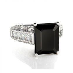 Big Center Stone Emerald Cut Sterling Silver Ring