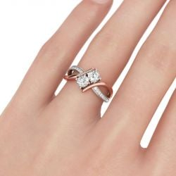 Two Stone Crossover Round Cut Sterling Silver Ring