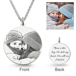 Round Laser Engraved Personalized Photo Necklace Sterling Silver