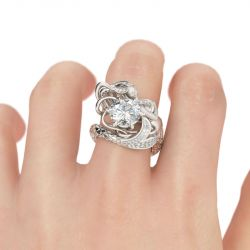 Large Center Stone Round Cut Mermaid Ring