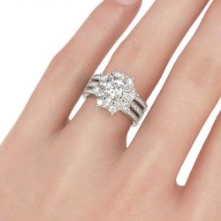 Flower Design Round Cut Sterling Silver 3PC Ring Set