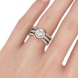 Interchangeable Twist Round Cut Sterling Silver Ring Set